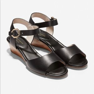 New Cole Haan Black Leather Wedge Sandal size 8